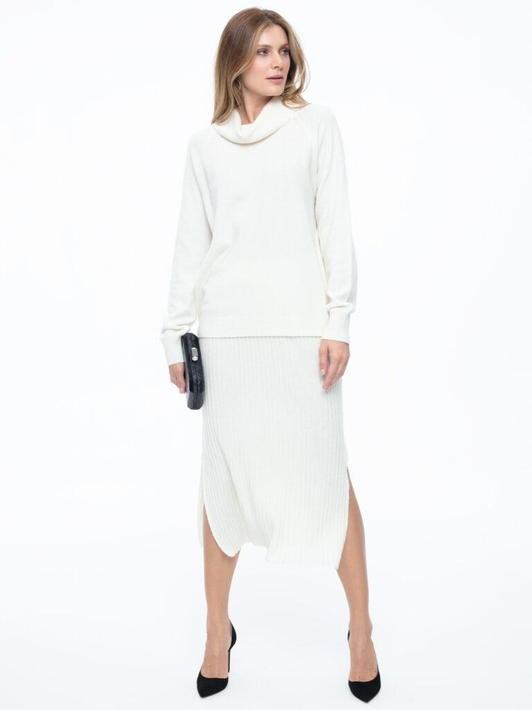 Biały sweter z wełną i kaszmirem